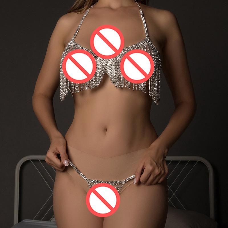 Long Tassel Body Chain Bra Thong Harness Plus Size Jewelry for Women Rhinestone Lingerie Set BodySuit Sexy Home