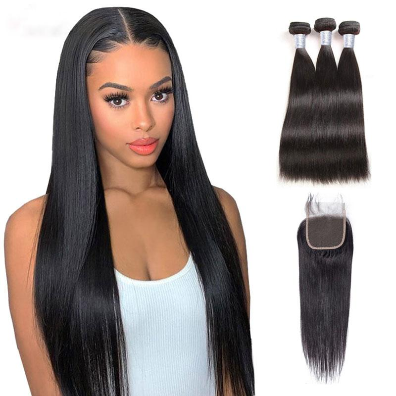 8A Brazilian Straight Virgin Hair Bundles With Lace Closure Unprocessed Peruvian Natural Black Human Hair Extensions Weave With Closure
