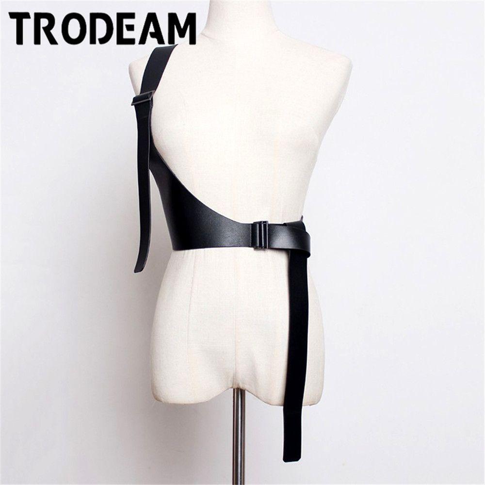 Trodeam Frauen Sexy Leder Body Bondage Käfig Sculpting Harness Taille Gürtel Riemen Strumpfgitter Gürtel Bund Harajuku Punk Hosenträger 201208