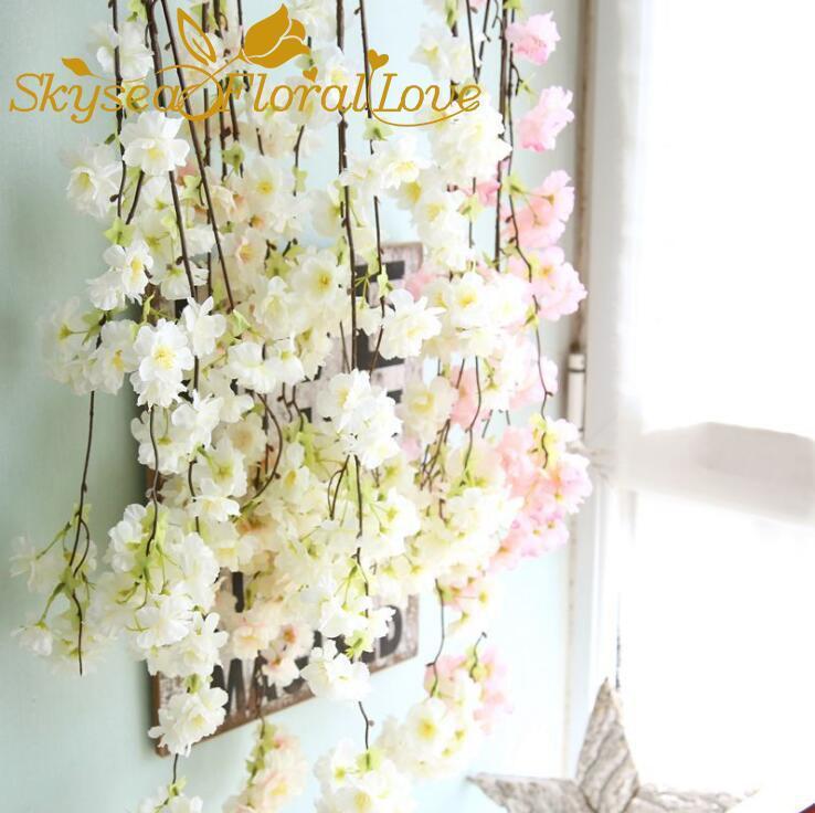 Flor de cereja artificial String Falske Flores Videira Casa Partido Casamento Decoração De Seda Flores Rattan Flower String