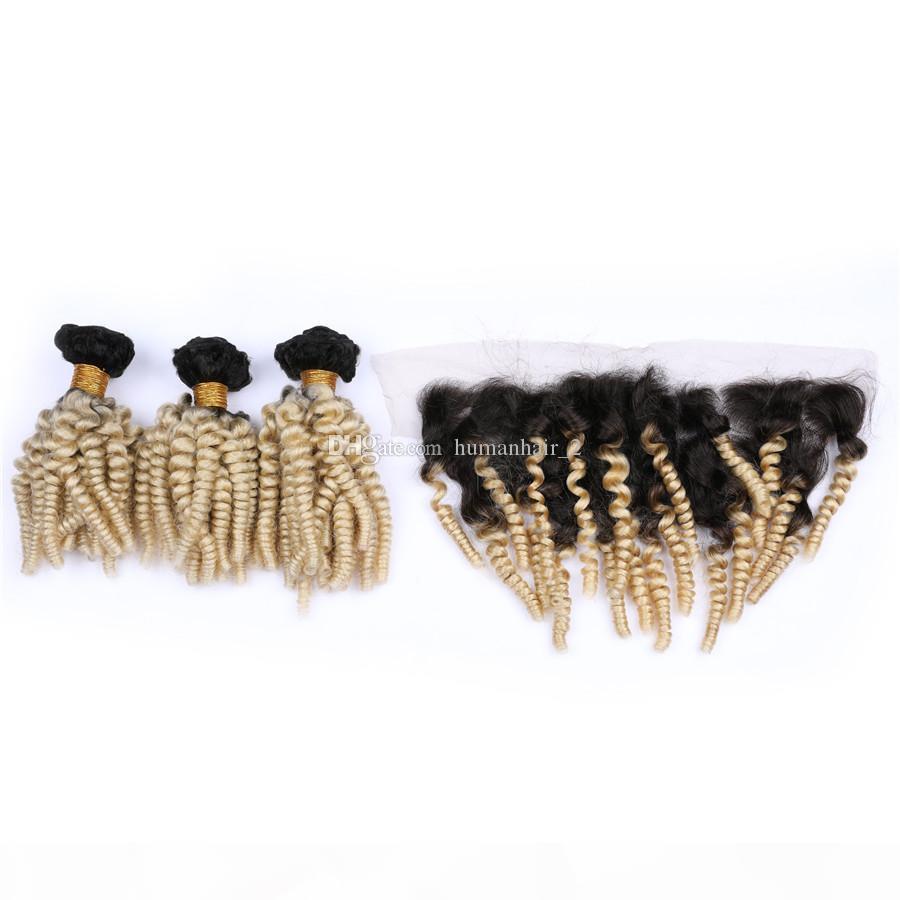 Loira Virgem Malaysian Weaves com laço Frontal Fechamento Tia Funmi Hair onda solta Extensões de cabelo ondulado com laço fechamento frontal