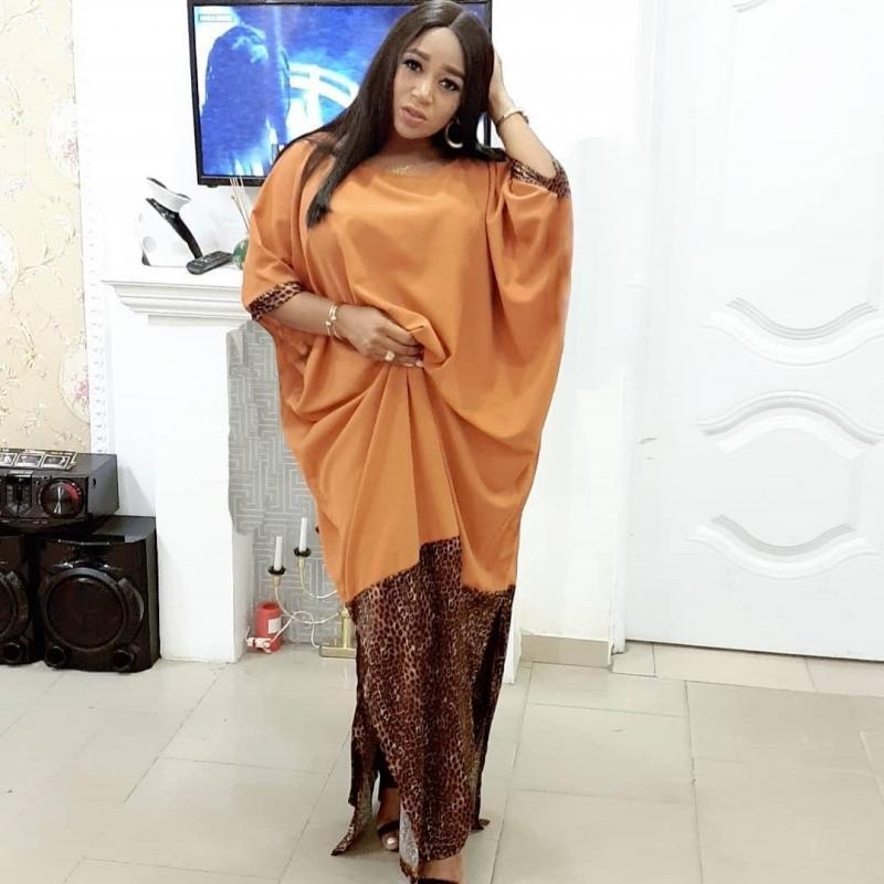 Kadınlar için Afrika Elbiseler 2019 Moda Tasarım Gevşek Elbise Batwing Maxi Uzun Femme Vestidos Yaz Sonbahar Parti Zarif Elbise Y200623