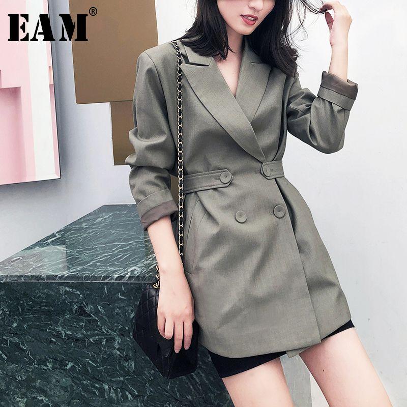 [EAM] Kadınlar Yeşil Düğme Split Eğlence Blazer Yeni Yaka Uzun Kollu Gevşek Fit Ceket Moda Gelgit Bahar Sonbahar 2020 1 W5160 X1214