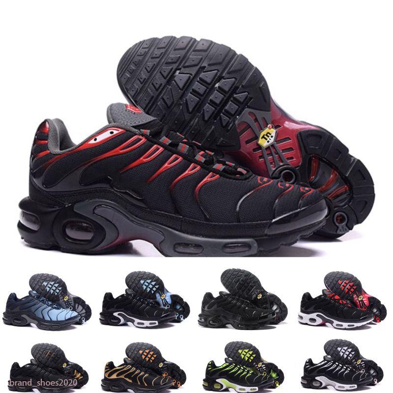 Plus TN MENS Sneakers Zapatos Triple Negro Blanco Rojo Oreo Hyper Blue Rainbow Volt Pimento Deportes Deportes Mujeres Entrenadores Tamaño 36-46