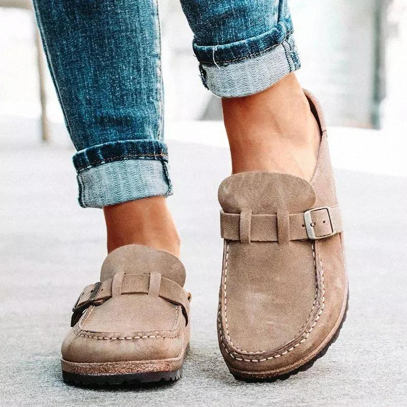 Femmes Slip sur Sandales 2020 Été rétro Casual Cuir Comfy Cuir Boucle En daim Mesdames Chaussures plats Soft Femme Chaussures Slip-Slipper N ° 0F0F