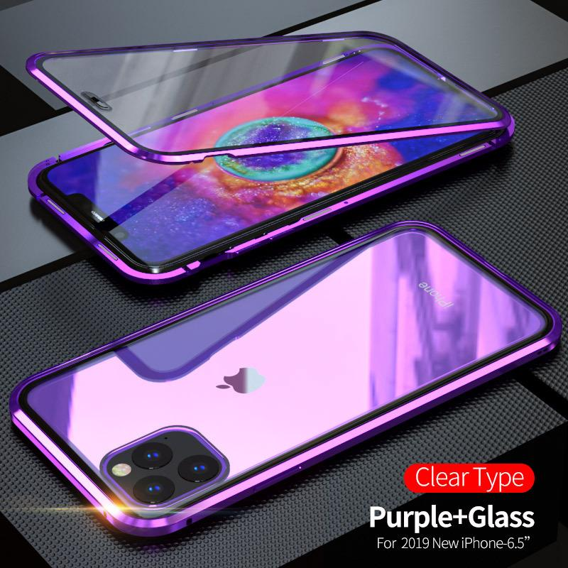 Magnetic Phone Case for iPhone 12 11 Pro Xs Max XR 8 Full Coverage Aluminum Alloy Frame Double sided Tempered Glass Back Cover
