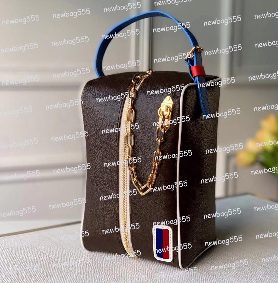Novo 45583 Embreagens LXN Blue Bag Mulheres Handbag icônico Homens Messenger Cosméticos Cadeia Cadeia Bolsa 45588 Zipper Bageiro Sacos Belt Design Wnwae