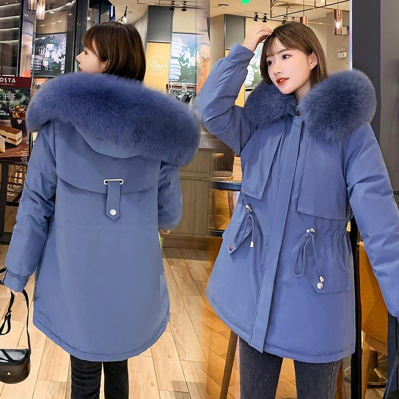 Kadınlar Kış Ceket Aşağı Ceket Bayanlar Kapşonlu Kürk Yaka Ceketler Neri Artı Kaşmir Kirpi Parka Sıcak Coat