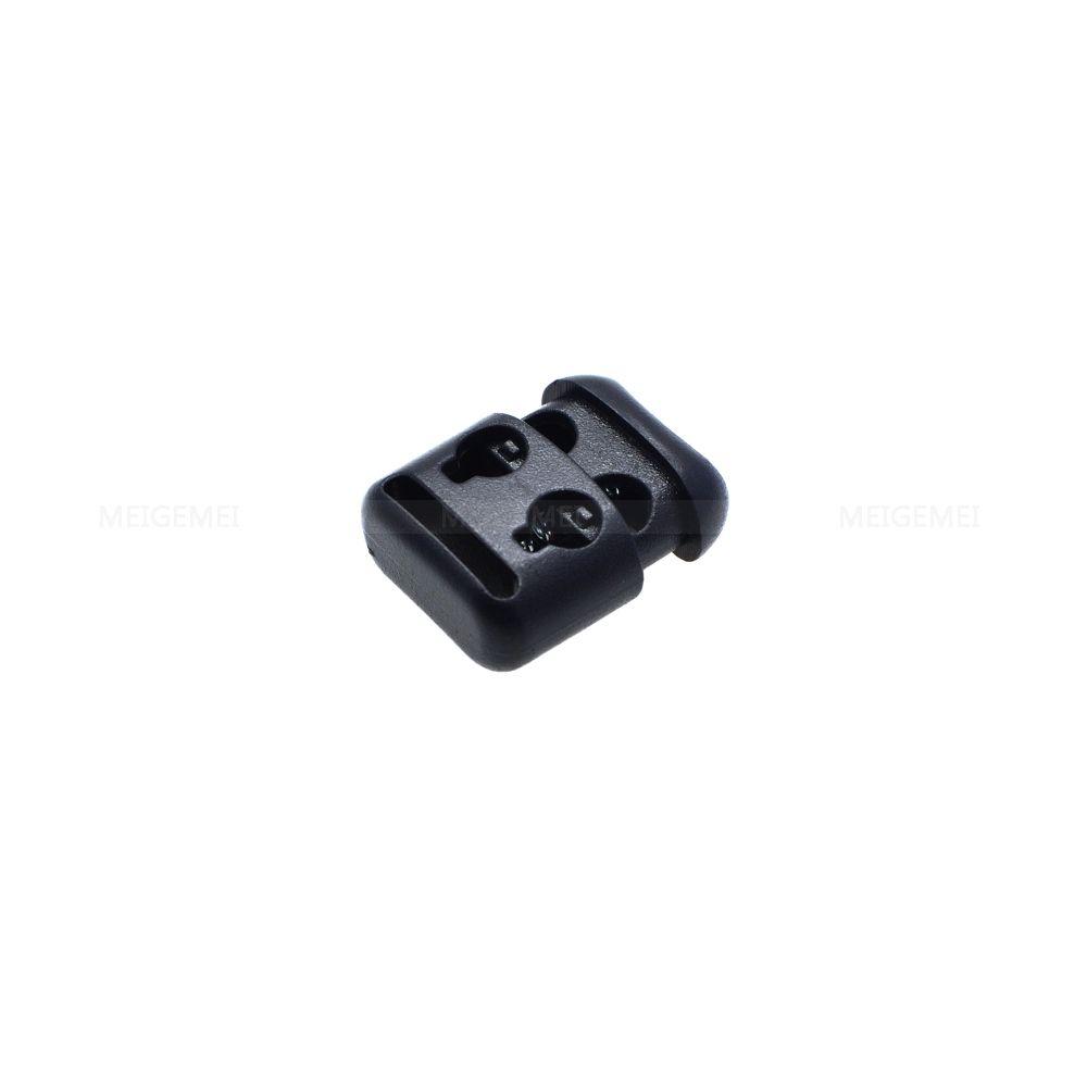 200 PC / 팩 플라스틱 로프 클램프 코드 잠금 마개 코드 록 토글 2 홀 4mm 블랙 파라르드 신발 레이스
