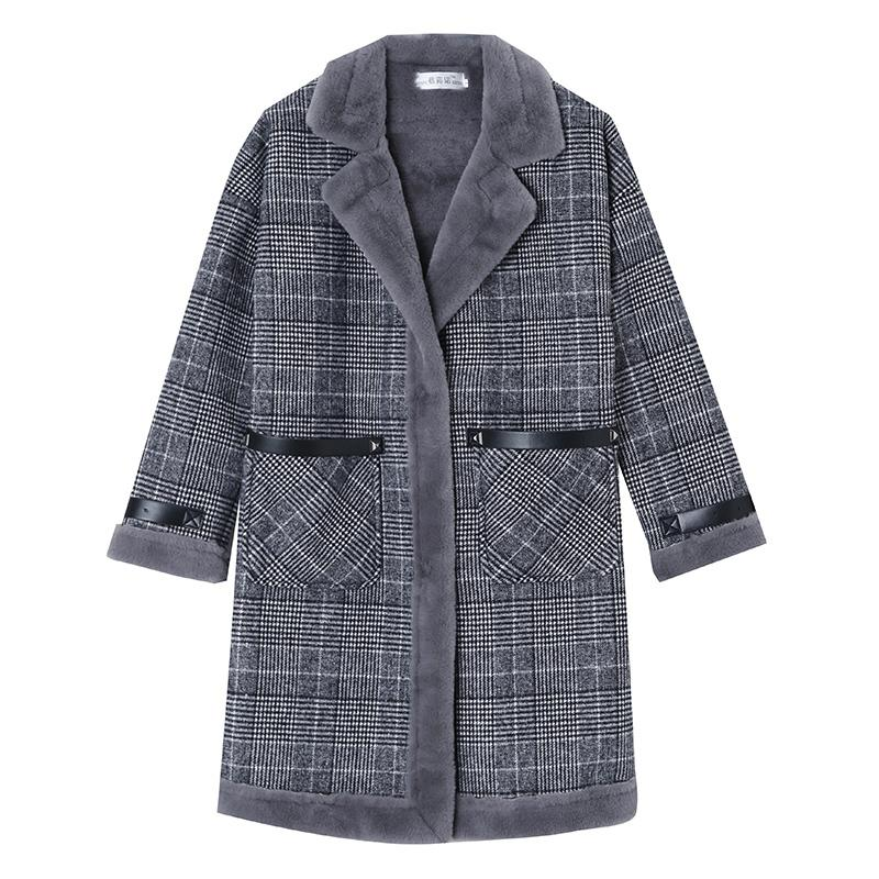 Tartan Coat Women 2020 Winter New Winte New Gorra MM MM Chaqueta de lana de tela escocesa PLUS TAMAÑO FC175