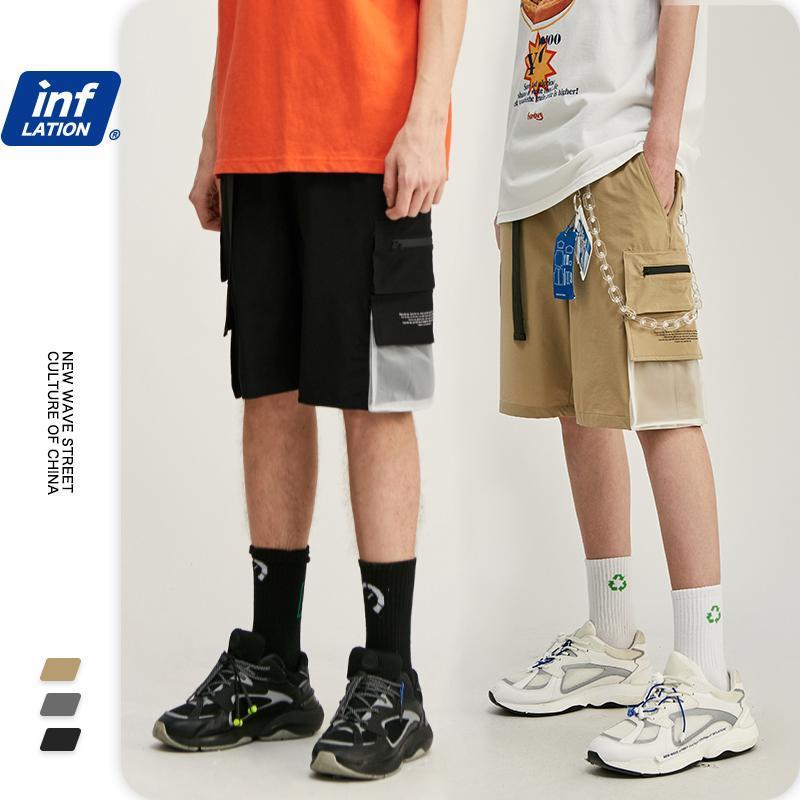 Inflation Elastische Taille Männer Kürzere Shorts Hip Hop Männer Harem Hosen mit Tasche Casual Shorts Streetwear Herren 3006S20