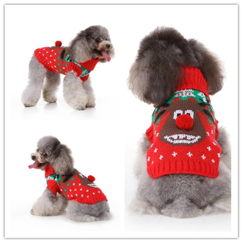 Christmas Dog Oversized Sweater Knitted Turtleneck Cartoon Animal Pattern Printing Cold Weather Clothing