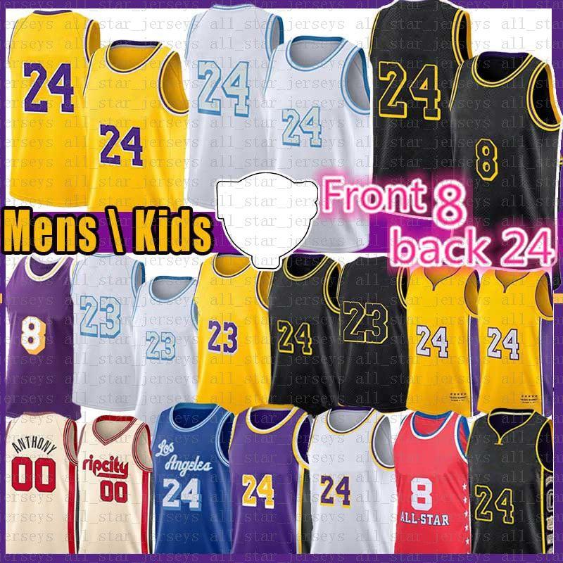 Los 8 24 Angeles Basketball Jersey 23 Carmelo 00 Anthony 32 34 NCAA Mens Jerseys 2021 Black Manba 3 Davis Kyle 0 Kuzma Alex 4 Caruso