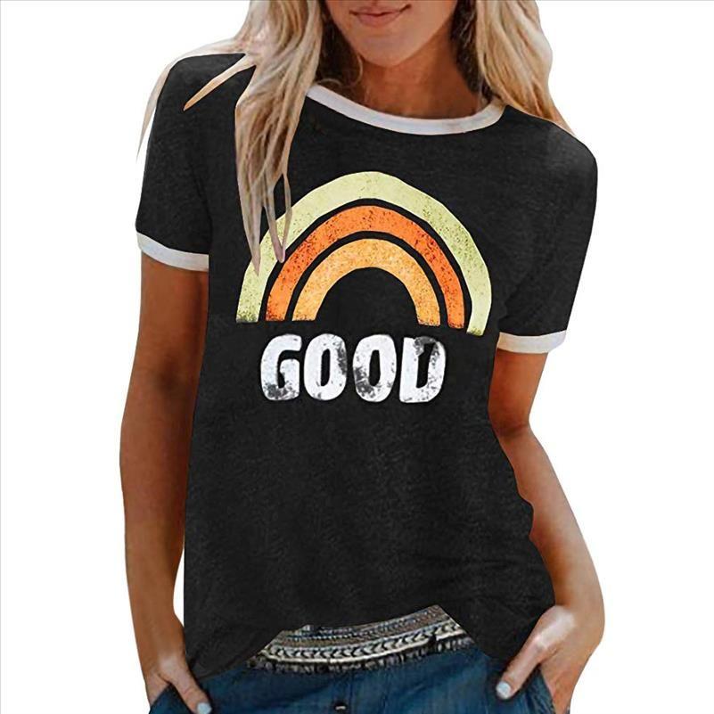 T-shirt Frauen T-shirt Vintage Vogue Brief Drucken Kurzarm Sommer Stil Weibliche Vestidos Ropa Mujer