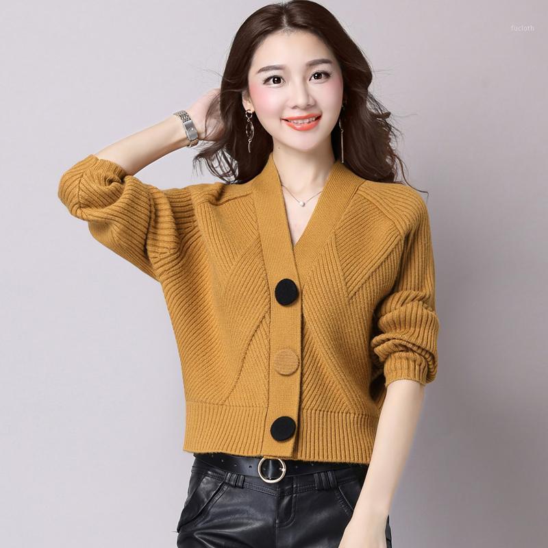 Nouveau chandail Cardigan Femme Cardigan Corean Style en vrac Lâche Longue manches courtes Court Col V-Col Manteau d'hiver Femmes Vêtements Tops1