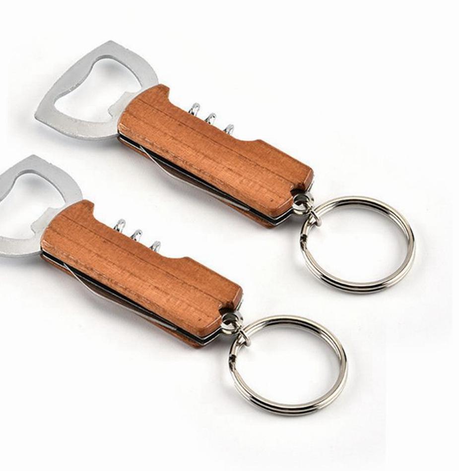 Apristire Maniglia in legno Apribottiglie Portachiavi Keychain PullTap Doppia Cerniera a cerniera ad anello in acciaio inox Apri portachiavi Bar K2