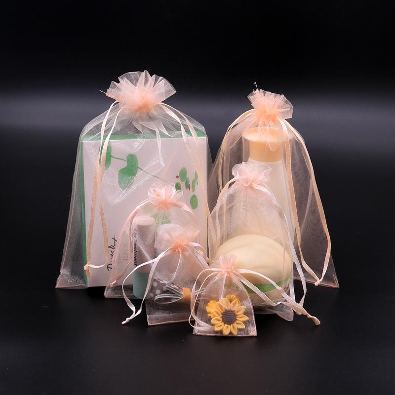 الشمبانيا اللون الرباط الأورجانزا أكياس هدية التفاف حقيبة هدية الحقيبة مجوهرات الحقيبة الأورجانزا حقيبة الحلوى أكياس حزمة الأعمال هدية متعددة الألوان