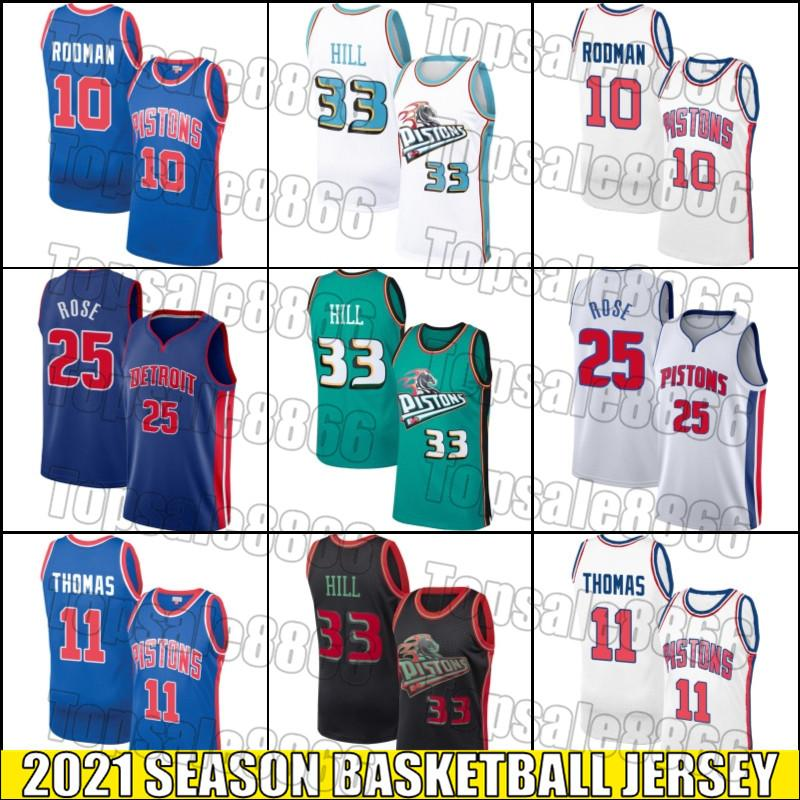DetroitPistónJersey Dennis 10 Rodman Jersey Isiah 11 Thomas Jerseys Derrick 25 Baloncesto Rose Jersey Grant 33 Hill Jerseys N5DS