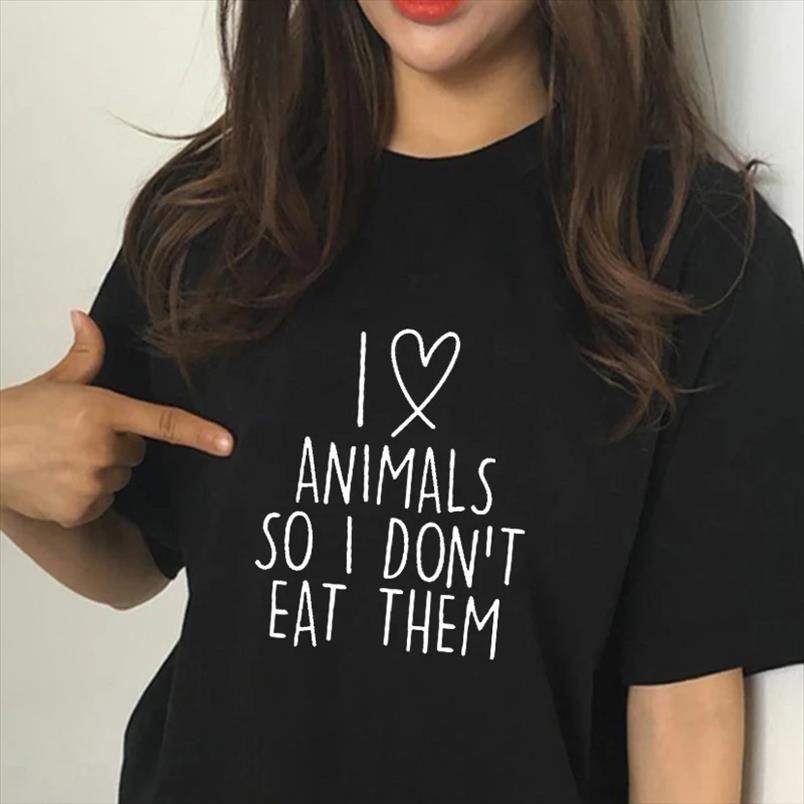 I Love Animals So I Dont Eat Them Vegetarian Vegan FUNNY Humour PRINTED Women T shirt Summer Fashion Femme TShirt Tee