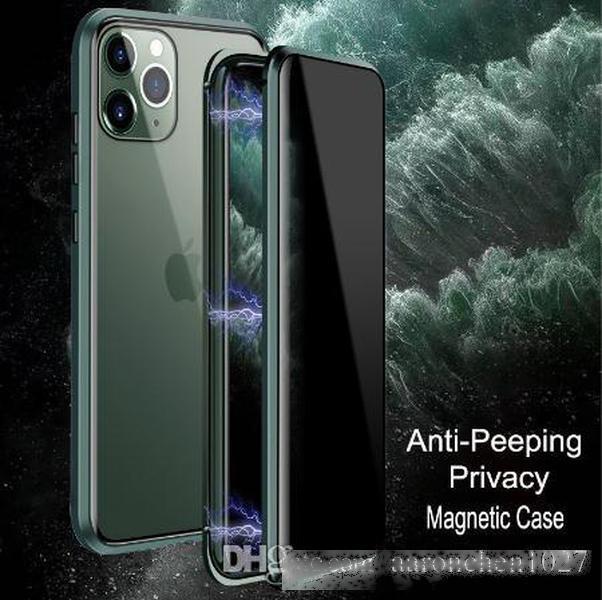 Para iPhone 11 pro MAX CASE LUJO MAGNÉTICO MAGNÉTICO Anti-PEEPING Frente de la parte trasera Vidrio templado 360 Magnet Tapa protectora antispy Coque