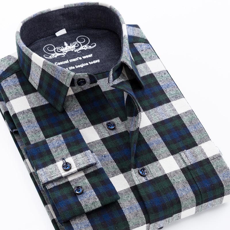 Neue große Größe 6XL Pure 100% Baumwolle Flanell Plaid Herrenhemden Langarm Kleid Hemd Männlich Casual Weichkomfort Slim Fit Kleidung C1211