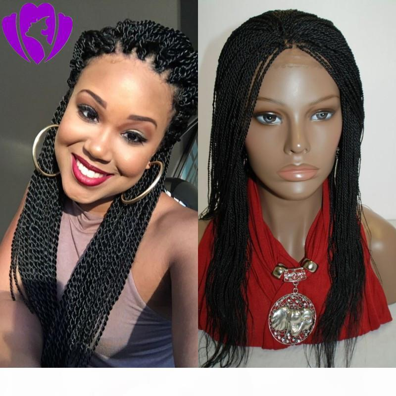 New fashion braided lace front wig with baby hair Senegalese 2X TwistWig Black Brown colors synthetic lace front wig for black women