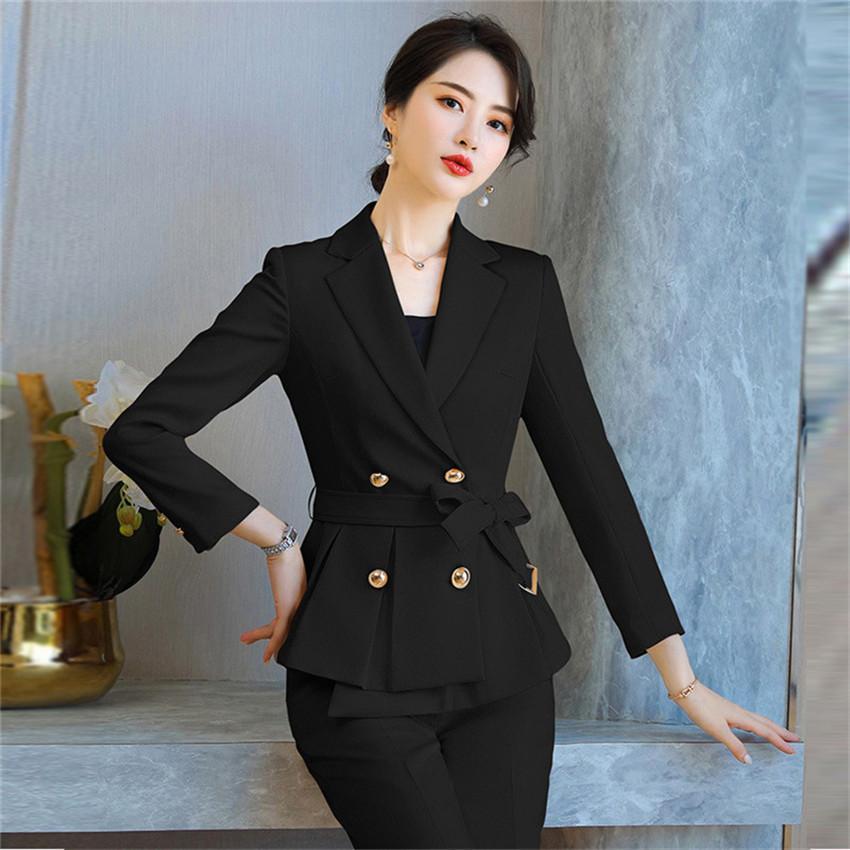 Basit Zarif Katı Kadın Blazer Suit Set Uzun Kollu Ofis Bayanlar Pantolon Takım Elbise Kadın Rahat Sonbahar Kış İki Parçalı Takım Q1214