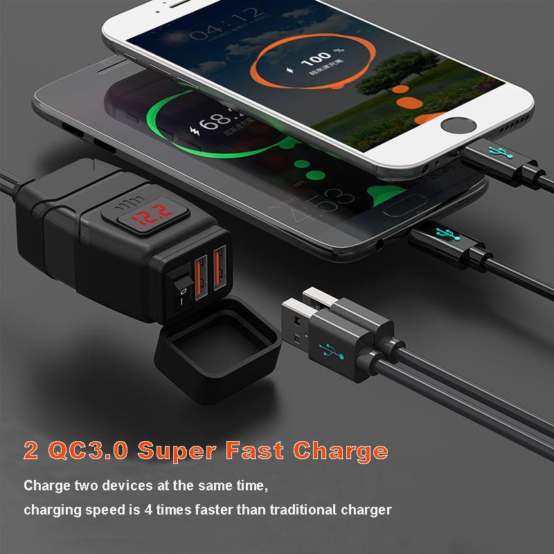 듀얼 USB 포트 12V 방수 오토바이 핸들 바 충전기 퀵 충전기 3.0 전압계 USB 오토바이 충전기