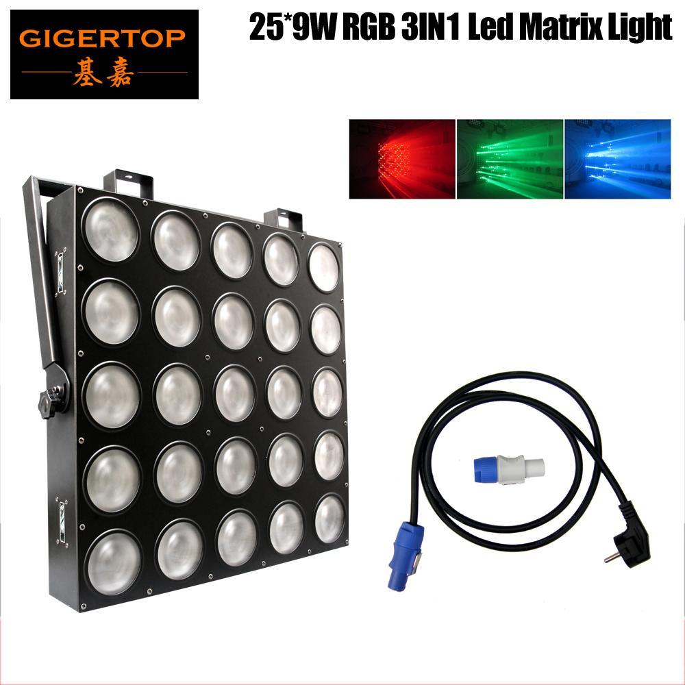 Freeshipping 25x9W RGB 3in1 Matriz de LED 25x9W Light Light DMX 84/75/30/6 Canal DMX 5x5 Palco Audiência Tyanshine Cob Scanner Light RGB