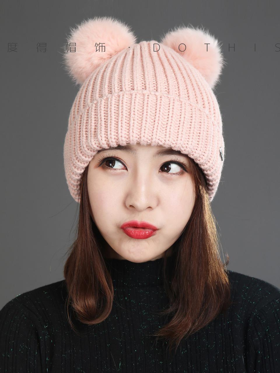 Sombrero Versión coreana para niños Invierno Nueva moda Versátil Versátil Doble Bola Conejo Pelo Punto Corea
