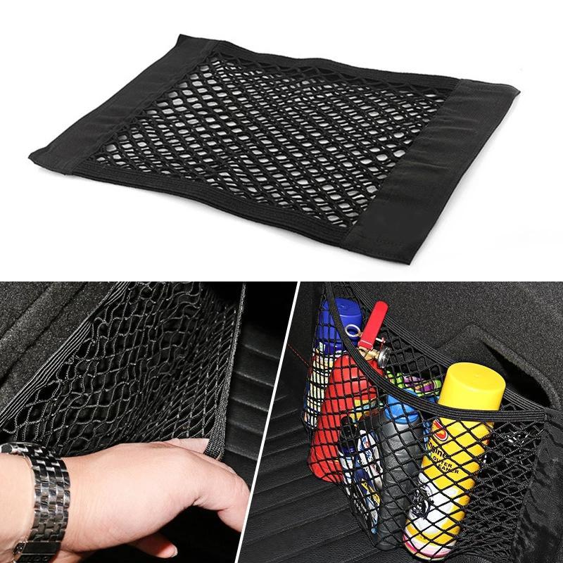 Voie universelle arrière arrière-tronc de maille d'arrière-tronc élastique corder filet magique autocollant voiture sac de rangement poche cage auto dossier sac de dossier