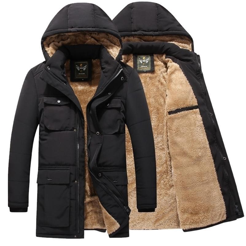 Casaco de jaqueta de jaqueta de inverno casual casual outono lã longa jaqueta grossa outwear com capuz multi-bolso masculino roupas para baixo parka 201218
