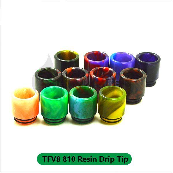 Venda bocal dicas de gotejamento 810 clearomizer epóxi resina gotejamento colorido kit de gotejamento para tfv8 tfv12 príncipe grande tanque de bebê atomizador alien x-baby tanks