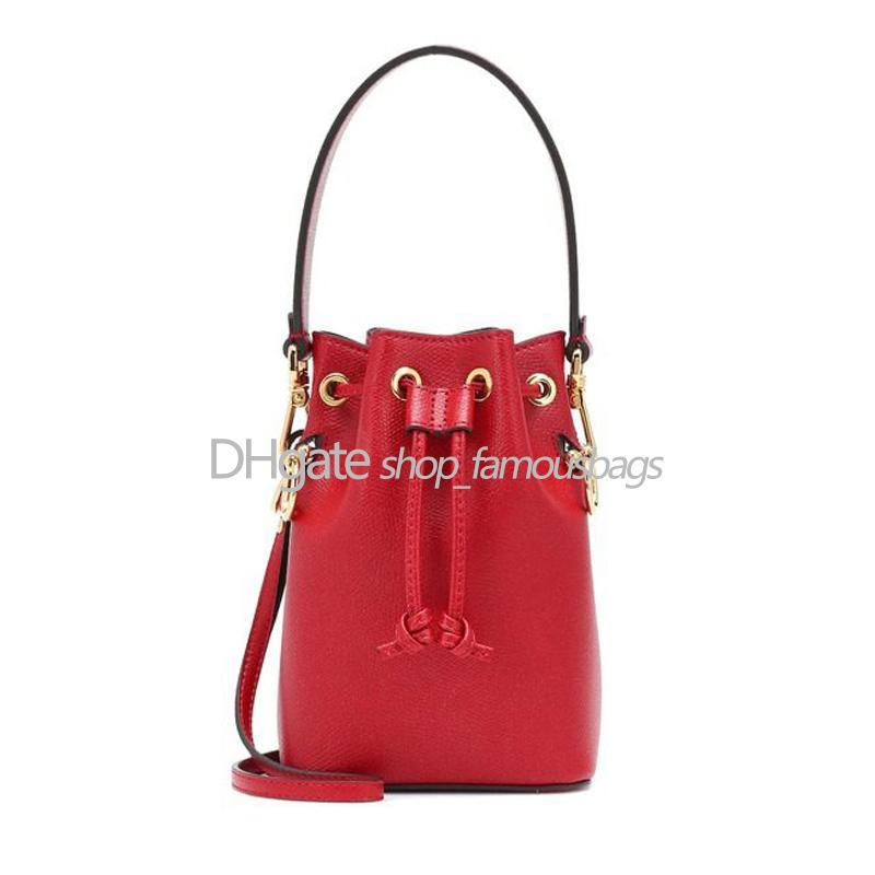 Senhoras Sacos Mini Bucket Drawstring F Letras Em Letras De Couro Bucket Saco Bolsas De Ombro Bolso Mujer Cross Body Bag Ombro Bolsa de ombro de alta qualidade