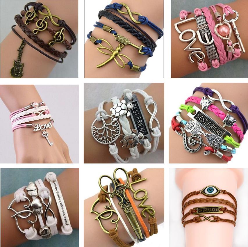 2021 Infinity Bracelets 쥬얼리 혼합 제비틴 인피니티 매력 팔찌 실버 롯트 스타일 좋은 가격으로 사람들을위한 선택