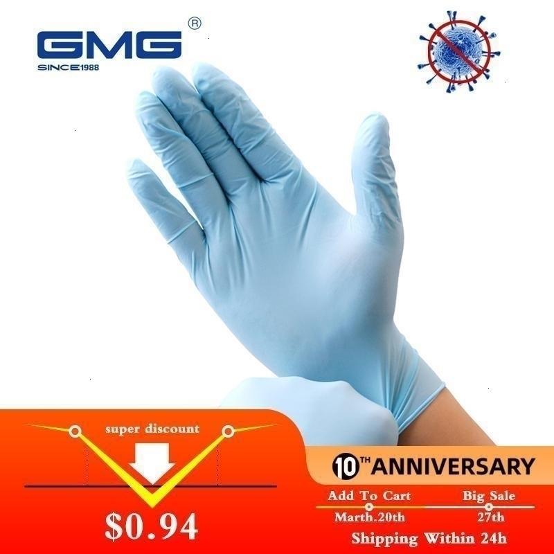 Водонепроницаемая безопасность FactoryPPoyFood Blue Blue Allergy 6PCS / LOT Бесплатная работа нитриловые одноразовые перчатки