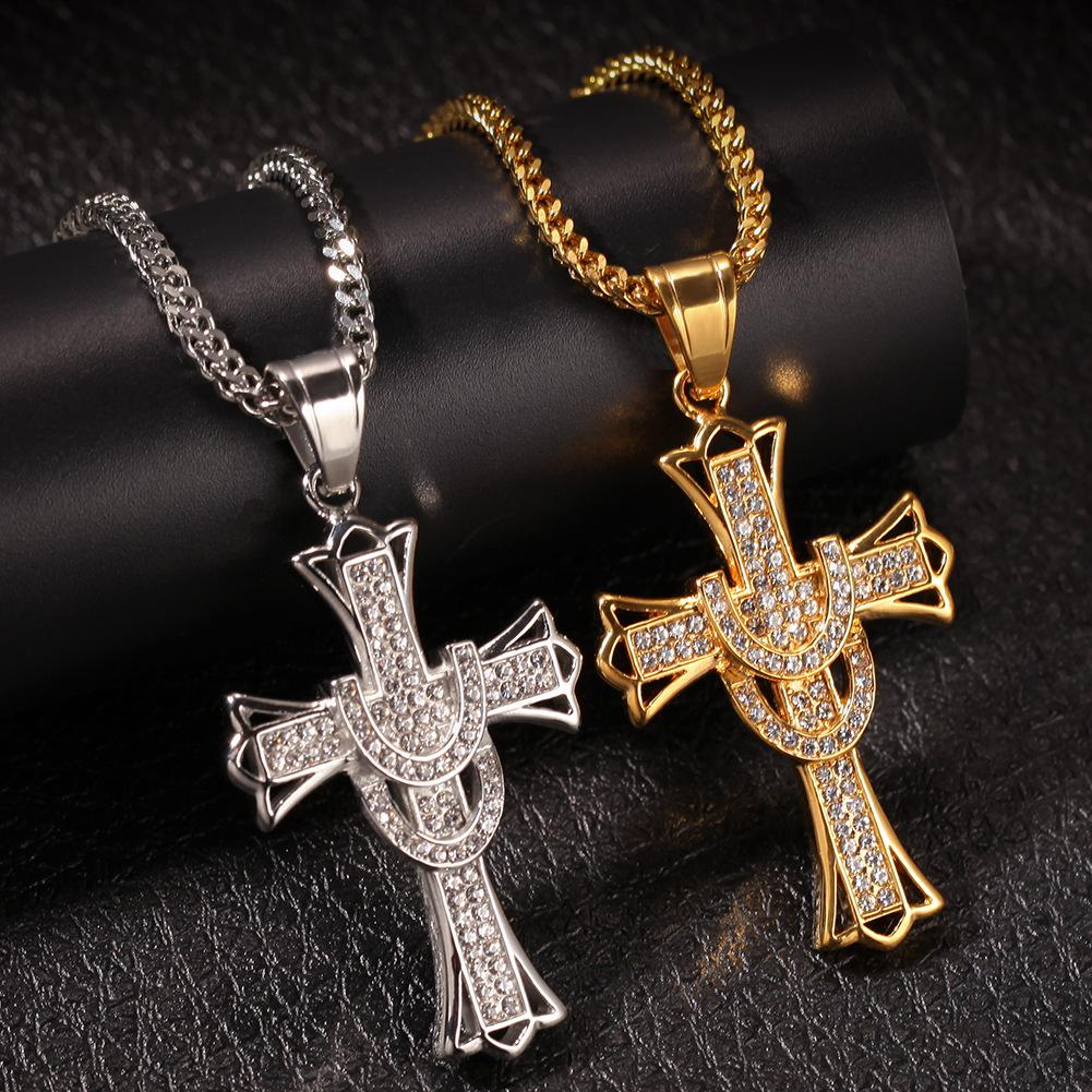 Hip Hop 5A Zirconia Cross Crystal Pendants Silver-Plate Box Chain Necklace Men Women Choker Necklaces Fashion Wedding Party Jewelry Gifts