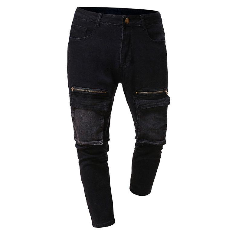 Moda Paket ile Mens Tasarımcı Kot Ile Yıkanmış Panelli Erkek Kalem Pantolon Rahat Fermuar Fly Erkek Giyim