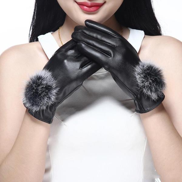 Guantes de cuero para mujer Mittens Guantes de dedo completo Guantes de color sólido Mujeres de conducción suave