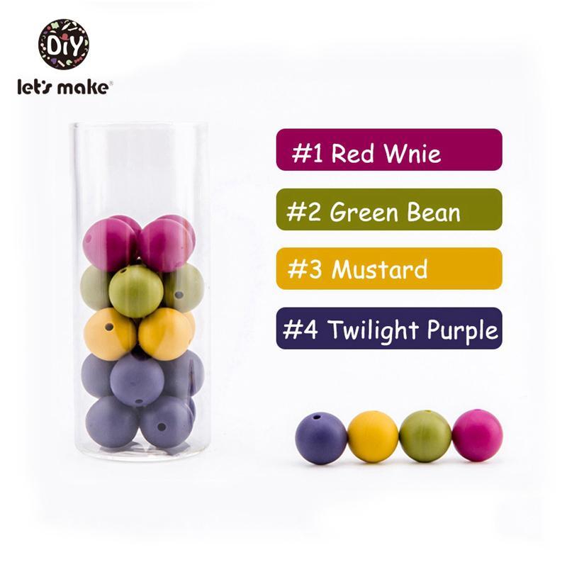 Let's Make 50pc Round 15mm Silicone BPA FREE Kids Toys DIY Teething Beads Baby Teether 201124