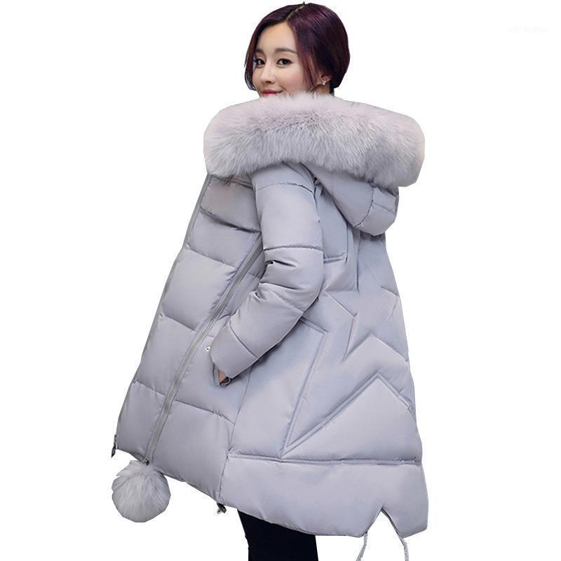 Parkas de invierno mujeres 2021 otoño más tamaño 6xl abrigo chaqueta piel con capucha gruesa cálida media ropa exterior femenino suelto acolchado parkas1