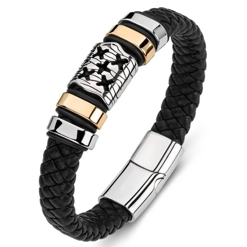Couro clássico de pulseira multi x liga punk bracelete presente