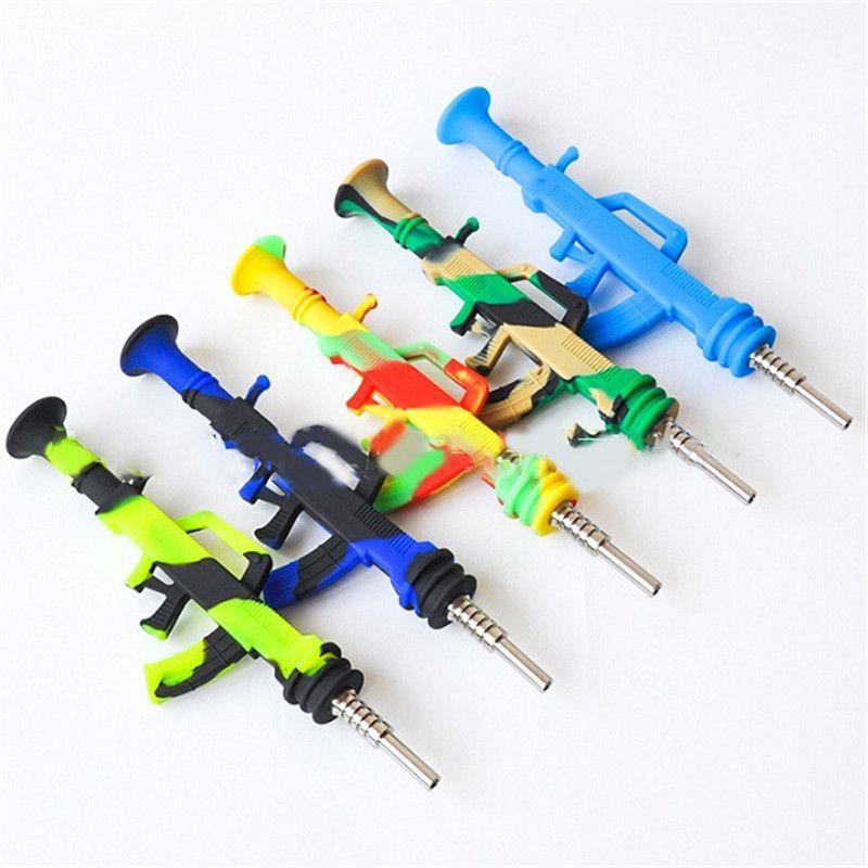 Renkli Çanta AK47 Şekli Silikon Boru ile 14mm Dabber Titanyum Tırnak Sigara Dab Saman Makineli Tabancası Nektar Kollektörü için Şekilli Bal Terrow