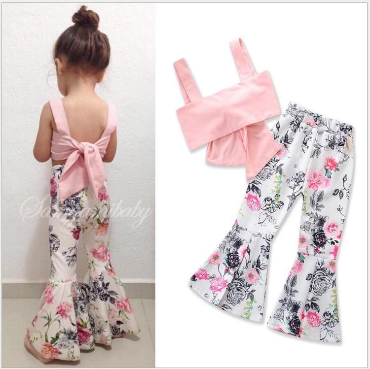 Новая прекрасная девушка летняя одежда наборы одежды скобы Топы + цветочные брюки 2 шт. Набор Baby Girls Outfits Детская одежда Детские костюмы 5sets / lot
