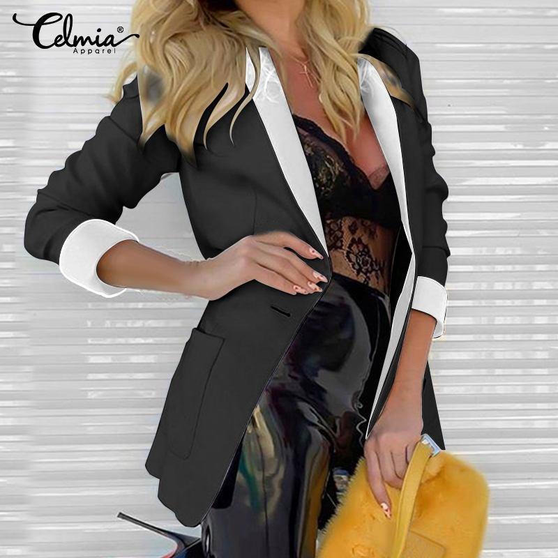 Плюс размер Celmia женский костюм пиджаки 2020 осень с длинным рукавом поворотный воротник пальто мода дамы бизнес кардиган куртки