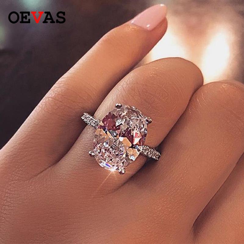 Oevas Classic 100% 925 Sterling Silver 9 Ct Oval creado Moissanite Gemstone Boda Anillo de compromiso de la boda Joyería fina Regalo al por mayor Y1124
