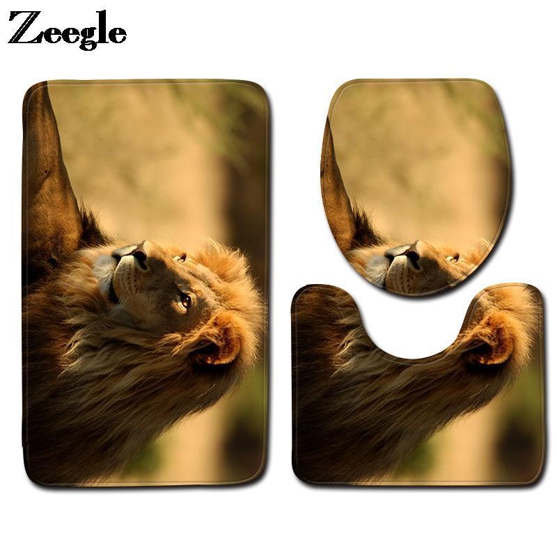 Tapetes de banho 3D leão impresso esteira para casa de banho casa decoração houver assento toalete tampa tapete conjunto de pé antiderrapante