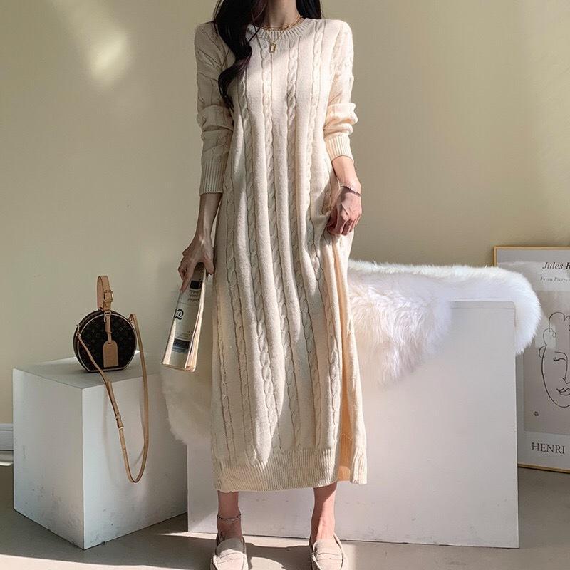 Женщины повседневные платья 2020 корейский стиль Chic O-шеи крутящий вязаный элегантный твердый цвет с длинным рукавом свитер платья женщины 5A02