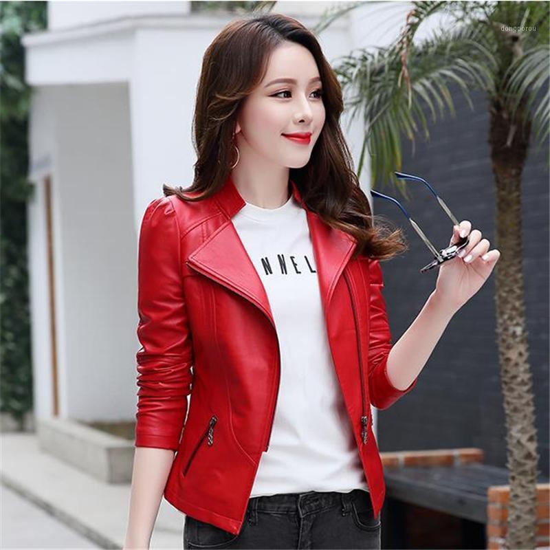 Плюс размер весенние кожаные куртки женщина негабаритная PU куртка женский осенний кожаный двигатель пальто леди зима верхняя одежда La Chaque1
