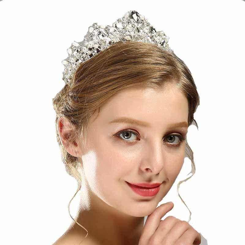 Crystal de luxe AB Bridal Crown Tiaras Light Gold Diadem Tiaras pour femmes mariée Accessoires pour cheveux de mariage